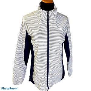 New Balance stripe zip up mockneck jacket blue M